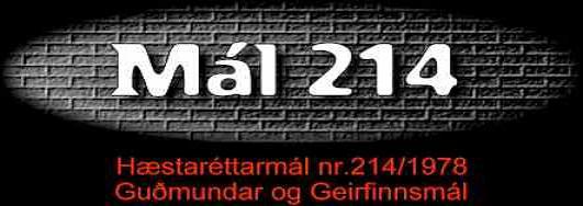 Mál 214 - Hausmynd